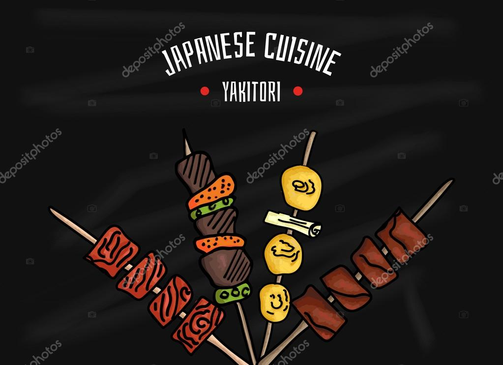 Japanese kitchen. Japanese food Yakitori for your design. Colorful vector illustration on black Board