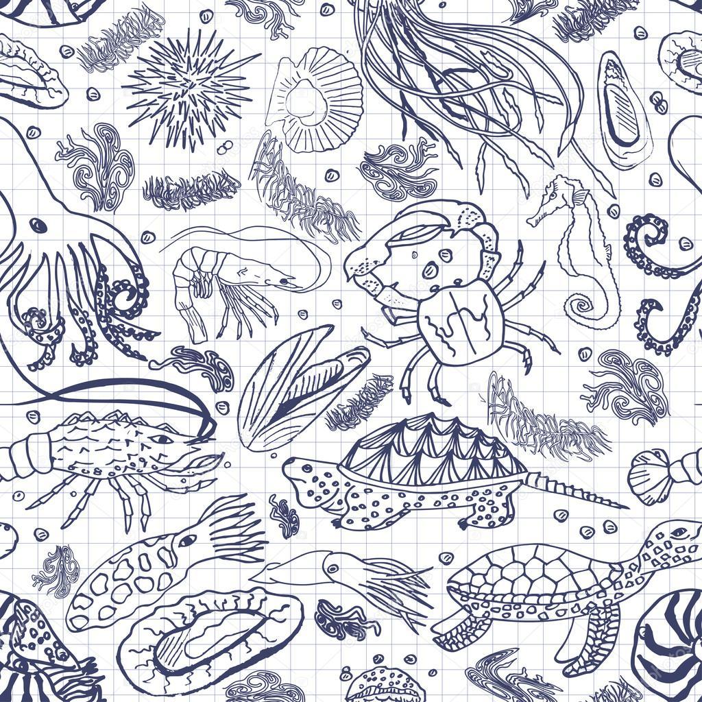 Marine seamless pattern for your design. Cafe design, menu,restaurant, pub, bar, leaflets, brochures and other design elements