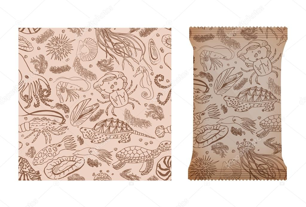 Marine seamless pattern for design of packages or other objects. Design with seafood and marine animals. Vector . mock up
