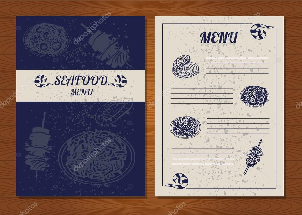 SeaFood menu of delicacies. Fish,octopus and other seafood. Vector illustration