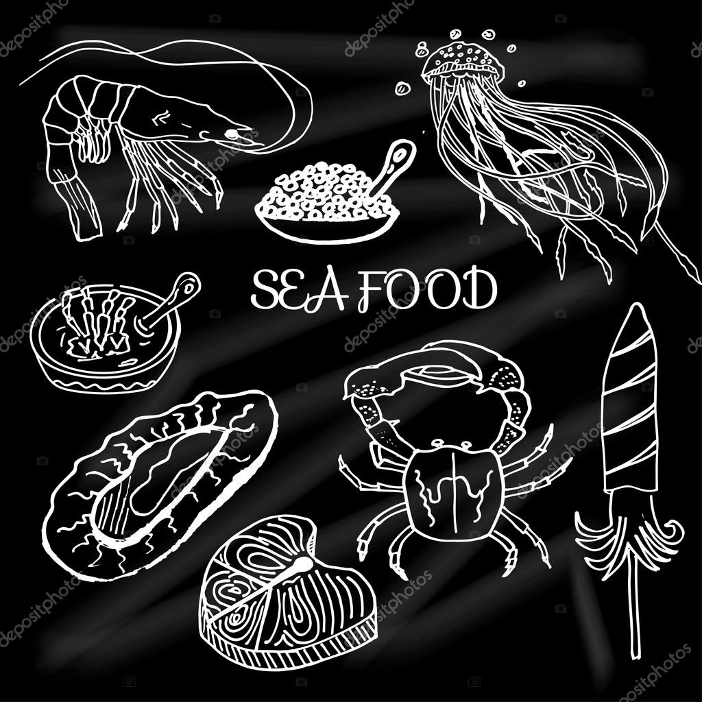 Set of seafood and delicacies drawn on the school Board fish, salmon, crab, shrimp, mussels, jellyfish, eggs, porridge, oysters
