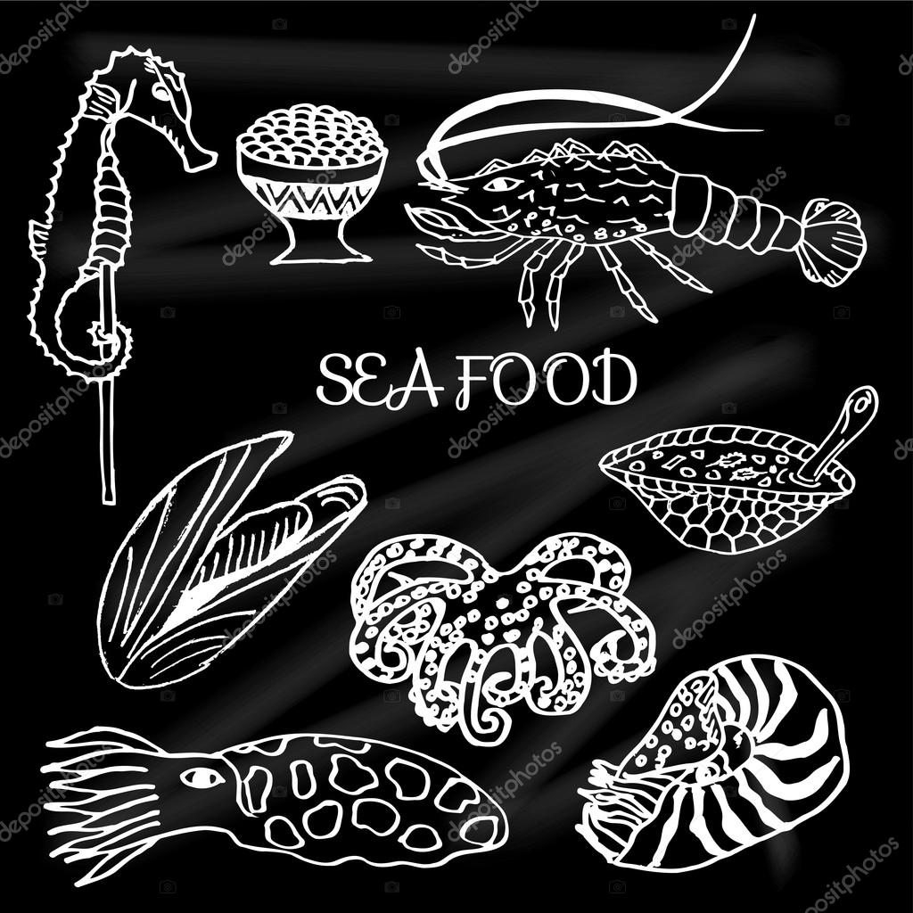 Set of seafood and delicacies lobster, turtle soup, oysters, seahorse, Nautilus, caviar, octopus, cuttlefish