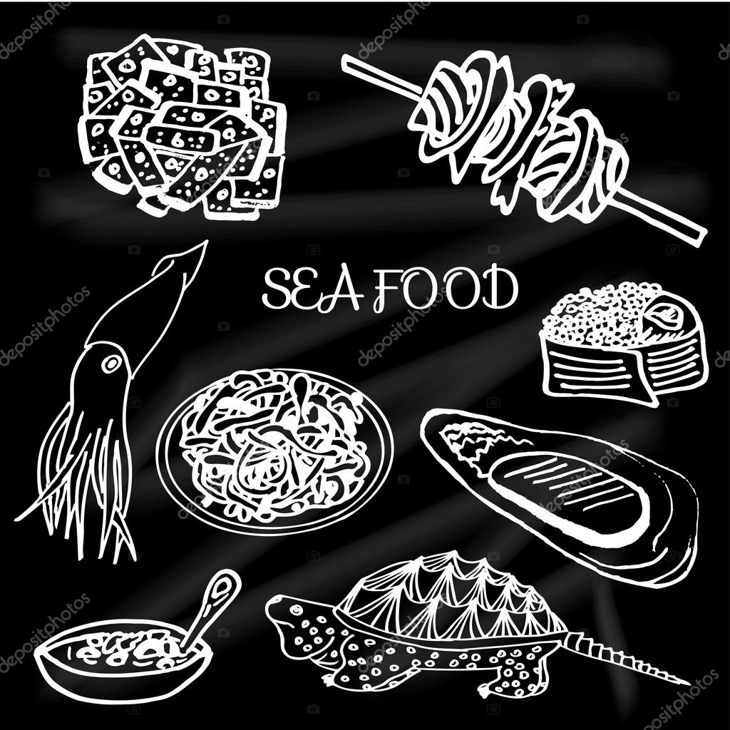 Set the seafood and sushi delicacies, caviar, turtle soup, oysters, pasta, squid, barbecue