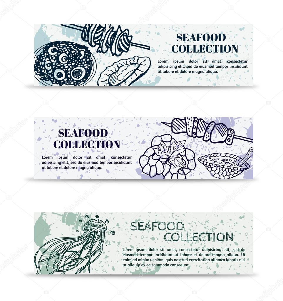 Vintage set of banners marine collection of seafood: mussels, clams, turtle soup, kebab, shrimp with herbs and sea jellyfish