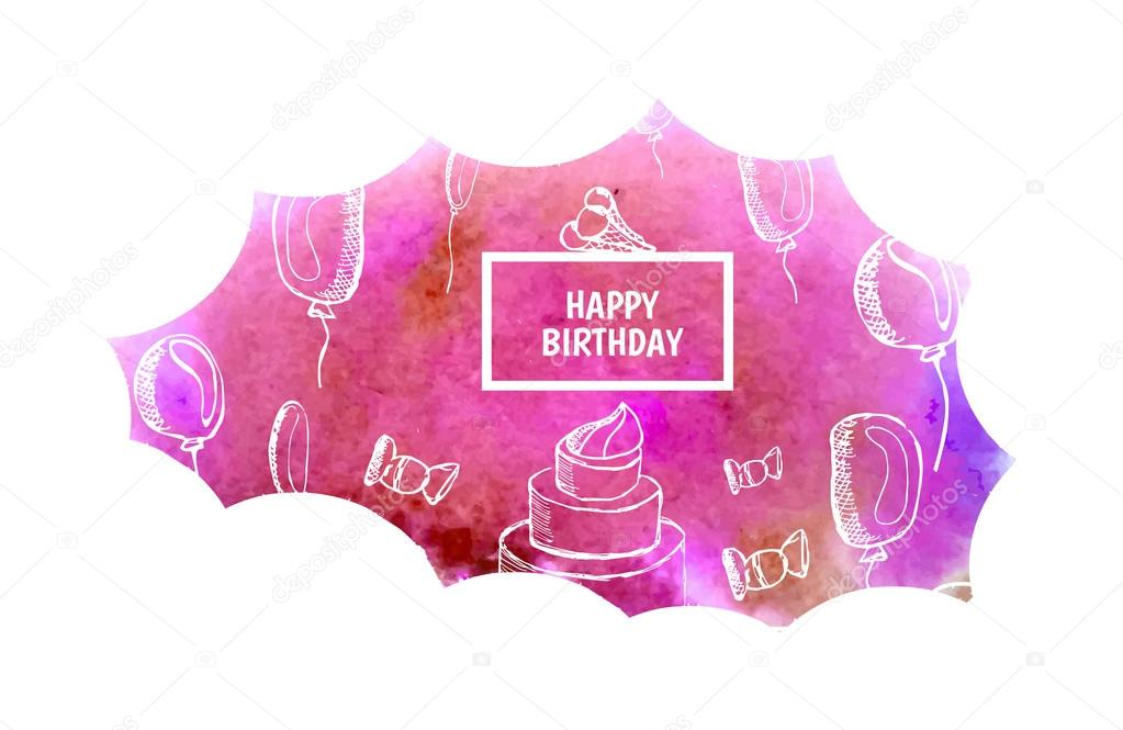 Watercolor Greeting Background Happy Birthday Vector De Stock
