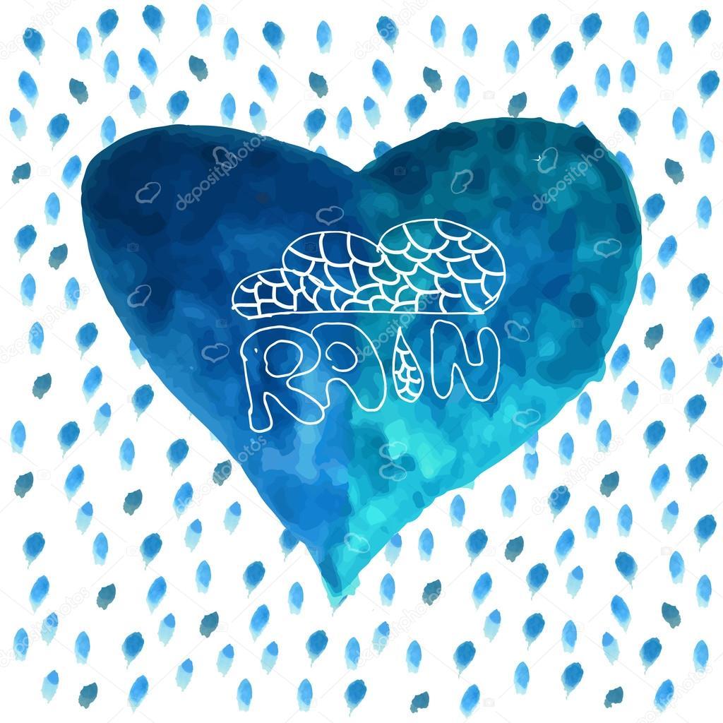 I like the rain. Vector background