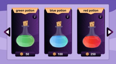 Interface game design resource includes game bottles of elixirs and other herbal potions resource icon for mobile and online game. Vector illustration
