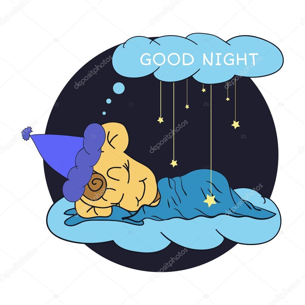 cartoon illustration of hand drawing sleeping baby wishing good rh depositphotos com good night love clip art good night clip art free