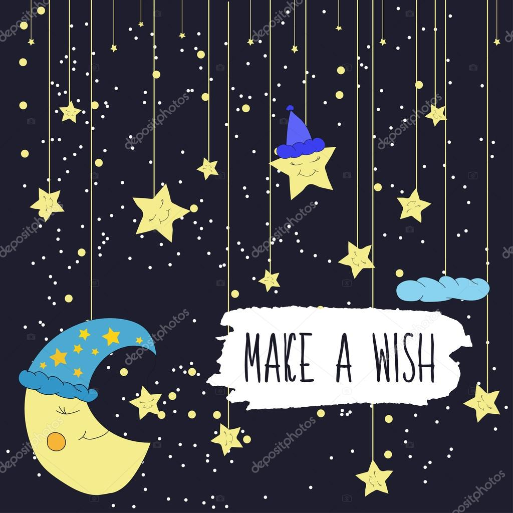Cartoon illustration of hand drawing of a smiling moon and a falling bright stars. Make a wish. Vector