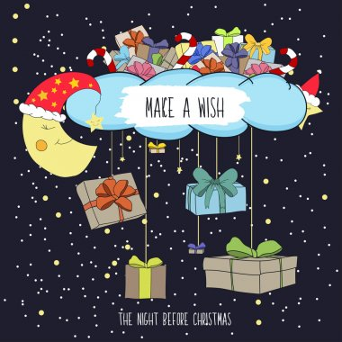 Cute cartoon illustration the eve of merry Christmas with gifts. Make a wish on Christmas night. Vector