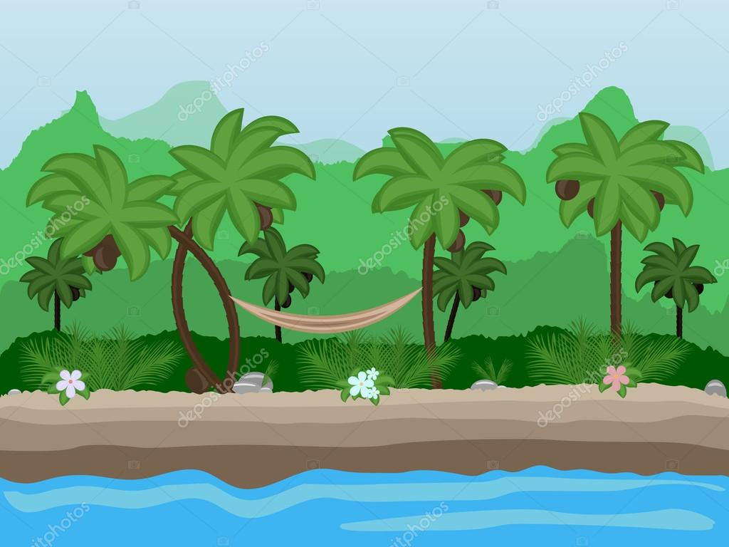 Vector Seamless cartoon nature landscape, unending tropical background with beach with palm trees, coconuts, exotic flowers and multiple levels mountains