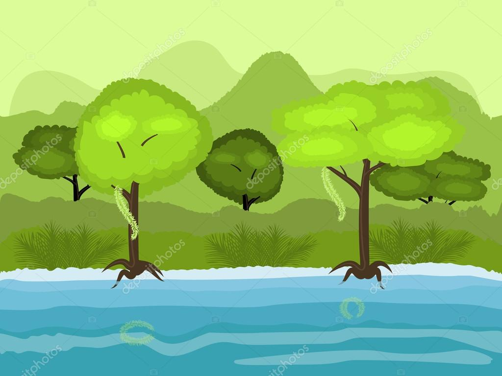 Vector Seamless cartoon nature landscape, unending tropical background with the beach with old trees, exotic vines and multiple levels mountains