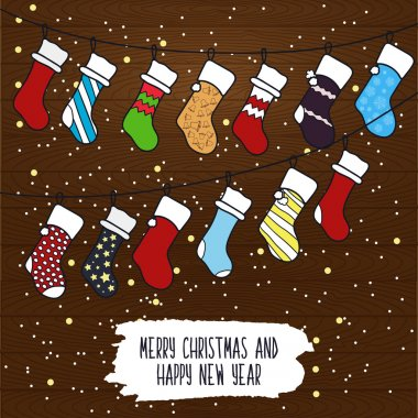 Cute cartoon illustration on the theme of merry Christmas and happy new year with a festive winter Christmas garland out of socks for gifts and surprises on wooden background. Vector