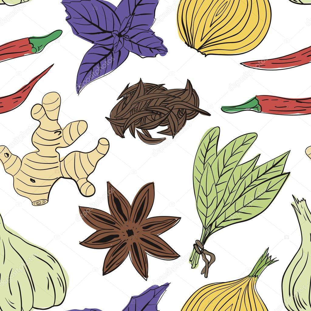 Hand drawn colorful vector seamless pattern of spices