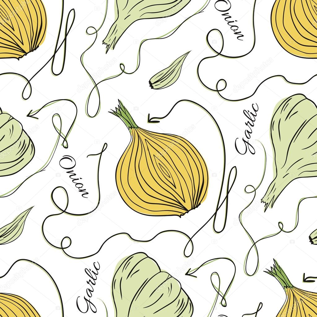 Hand drawn original vector seamless pattern with onions and garlic