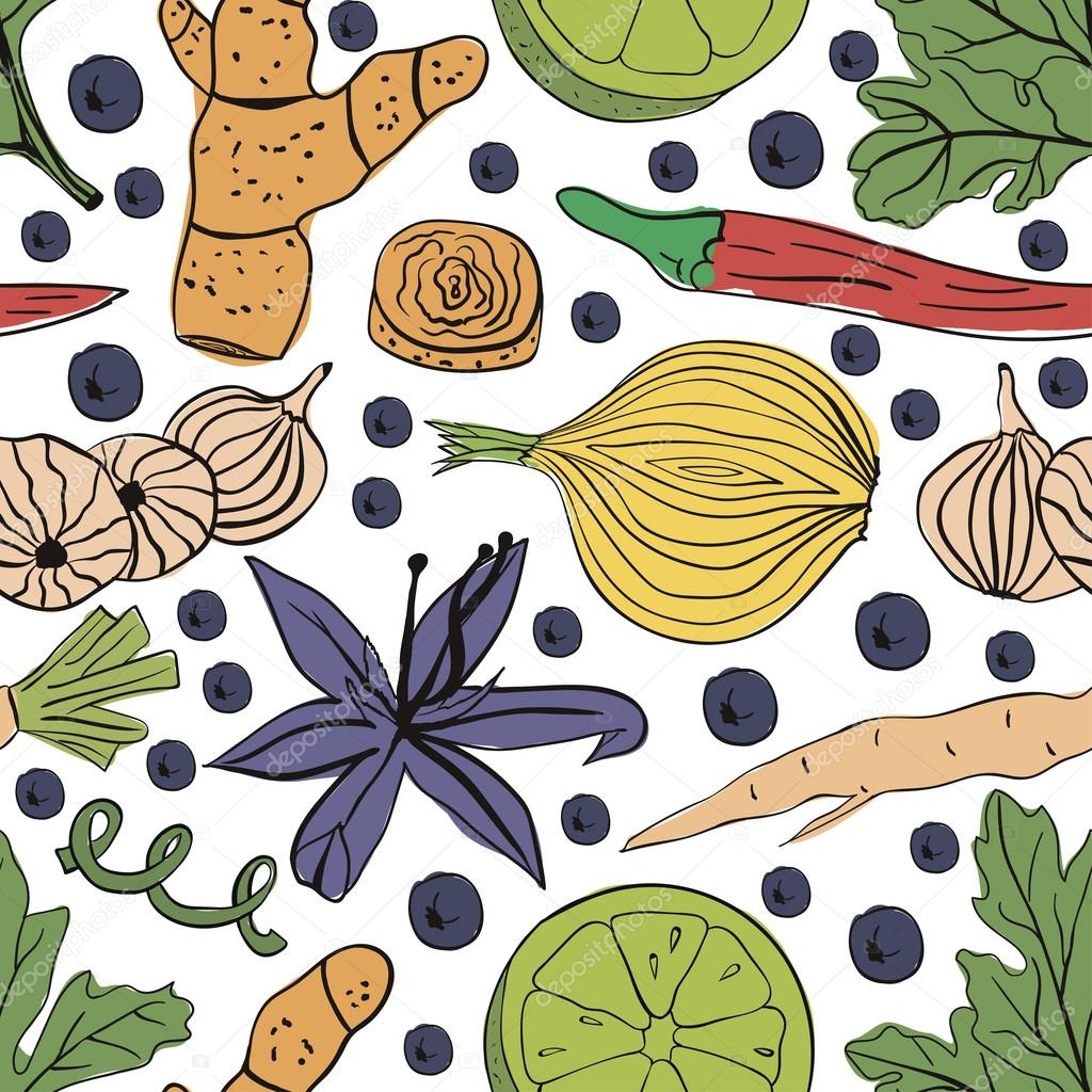Hand drawn colorful vector seamless pattern eco spices