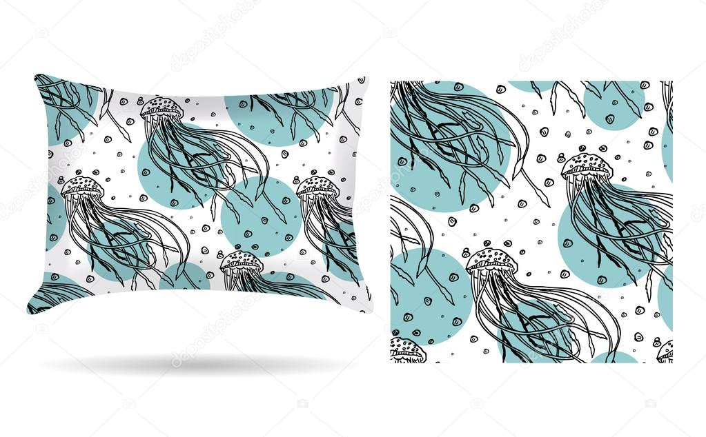 Decorative pillow with jellyfish pillowcase in an elegant, gentle style on a white background. Isolated on white. Interior design element. The aroma of the sea. Vector