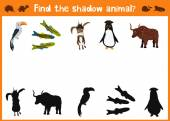 Mirror Image of five different animals good Visual Game. Task find the right answer black shadow animals. All images are isolated on a white background and you can move them