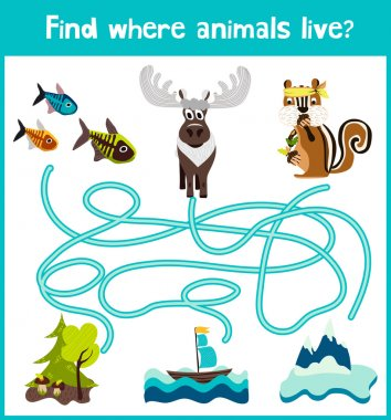 Fun and colorful puzzle game for children's development find where a deer, striped Chipmunk and fish. Training mazes for preschool education. Vector