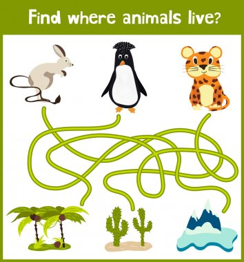 Fun and colorful puzzle game for children's development find where a penguin, a camel and a Jaguar. Training mazes for preschoolers. Vector