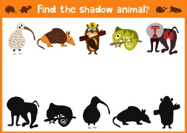 Mirror Image five different cute animals and a good Visual Game. Task find the right answer black shadow animals.