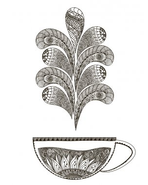Hand drawn illustration Black and white doodle art. Page with hot tea for coloring books for adults . Vector
