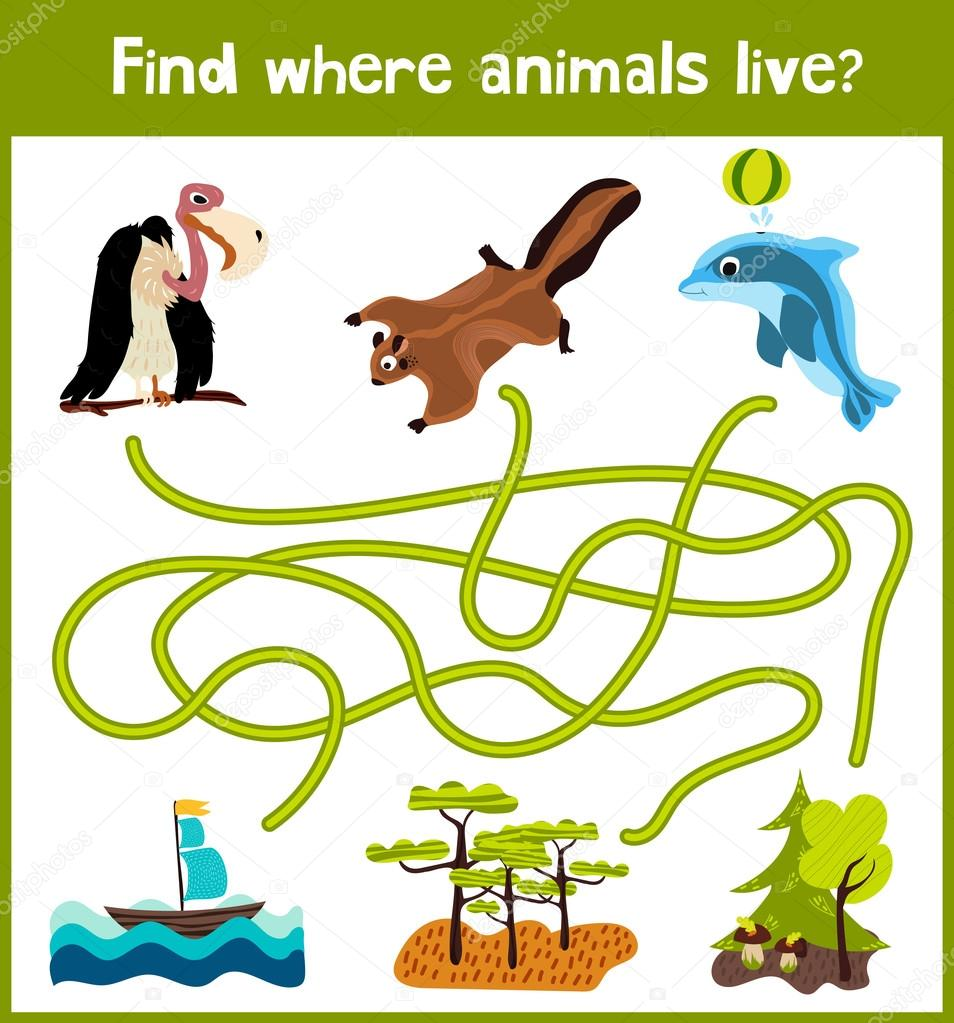 Bright cartoon educational puzzle game for children of preschool and school ages. Where to find what animals live in the sea Dolphin, squirrel forest and bird vulture from Savannah. Vector