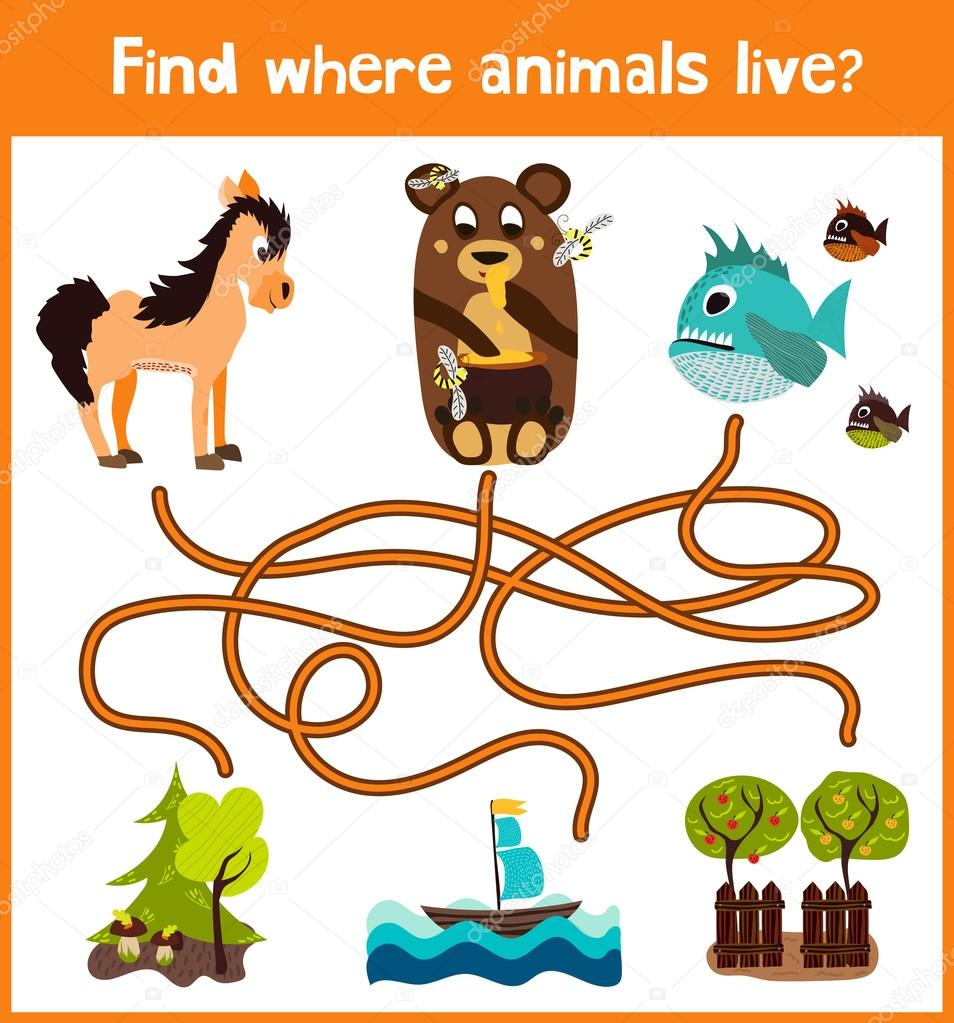 Fun and colorful puzzle game for children's development find where animals live. Training mazes for preschoolers. Vector