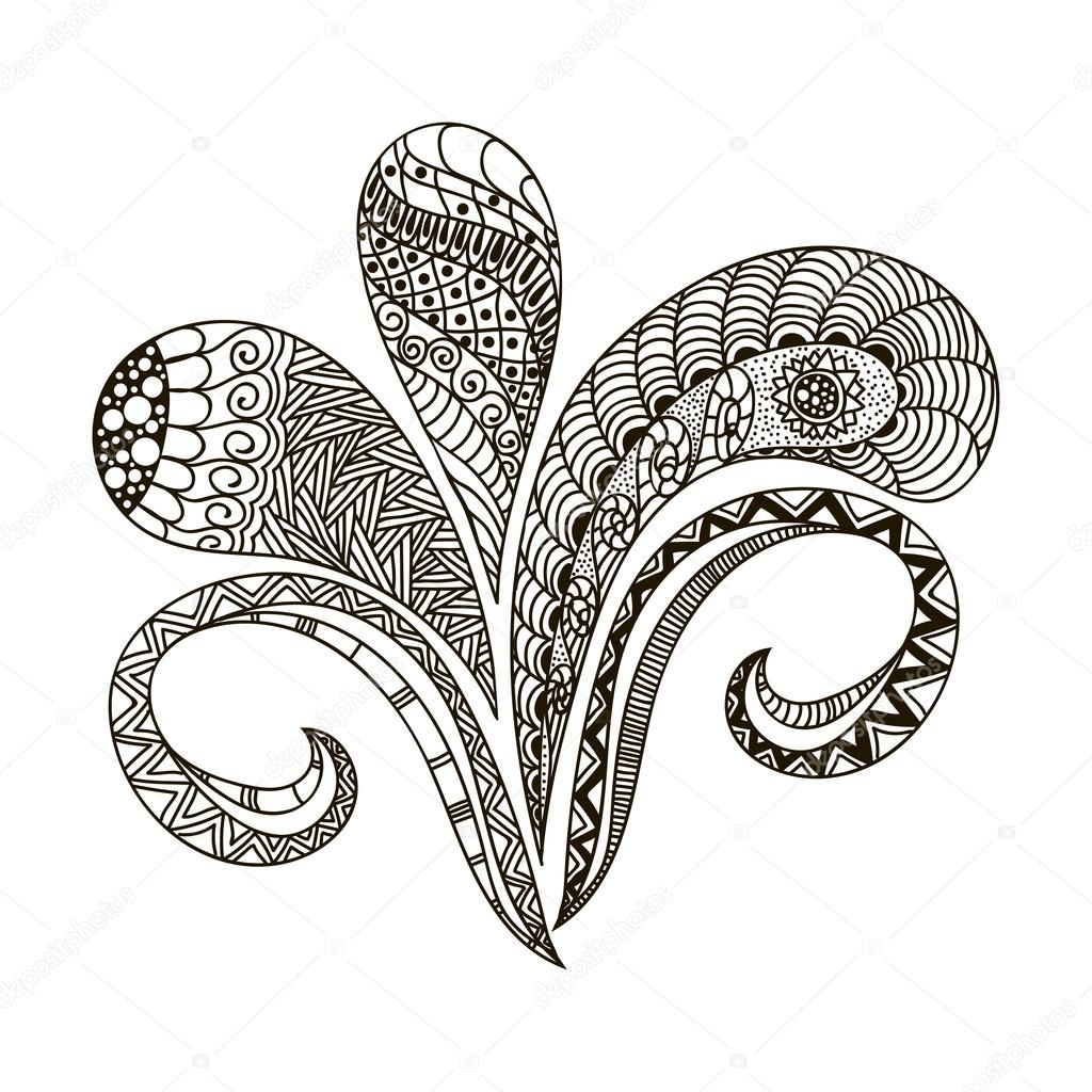 Hand drawn illustration Black and white doodle art style to design ...