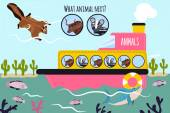 Fotografia Cartoon Vector Illustration of Education will continue the logical series of colourful animals on a boat in the ocean among sea fishes and deserts. Matching Game for Preschool Children. Vector