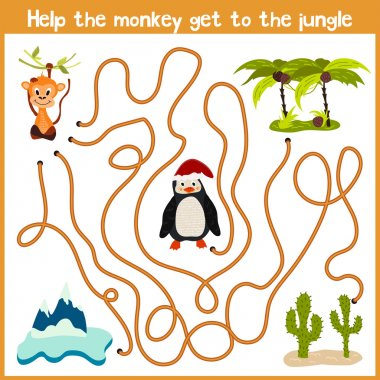 Cartoon of Education will continue the logical way home of colourful animals.Help me get the cute naughty monkey home in a tropical jungle. Matching Game for Preschool Children. Vector