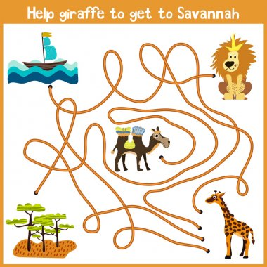 Cartoon of Education will continue the logical way home of colourful animals.Help giraffe to get home to the territory of the Savannah. Matching Game for Preschool Children. Vector