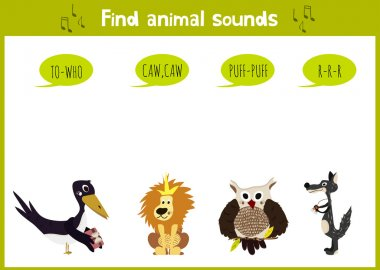 Colorful children cartoon game education puzzle for children on the theme of the study of the sounds of the wild animals of the forest. Vector