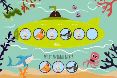 Cartoon Vector Illustration of Education will continue the logical series of colourful animals on a green submarine . Matching Game for Preschool Children. Vector