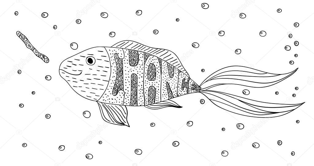 Schwarz-Weiß-Ornament kreative Motivations Fisch und Wurm im Meer ...