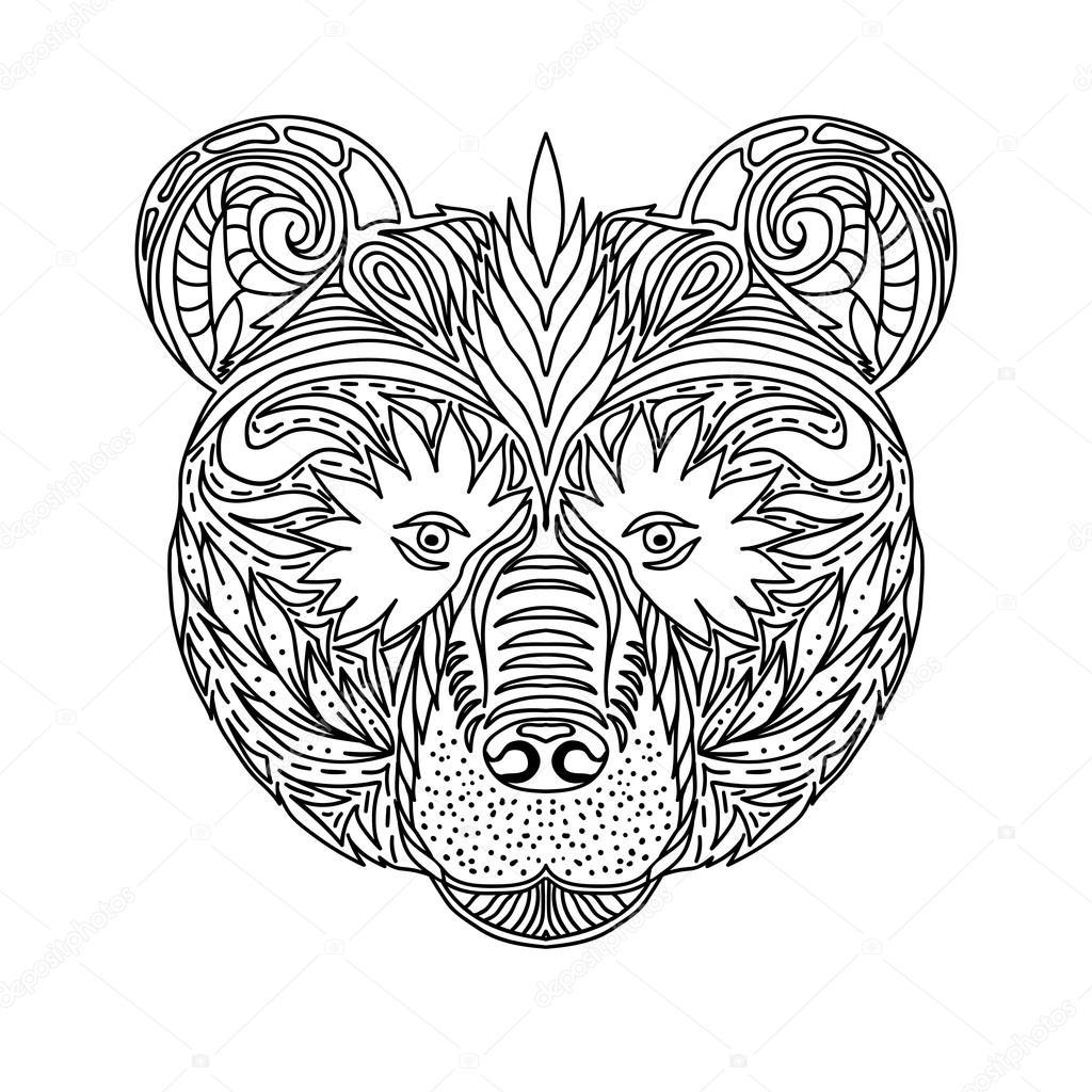 Ornament Schwarz Weiß Gesichter Wildes Tier Des Waldes Bären