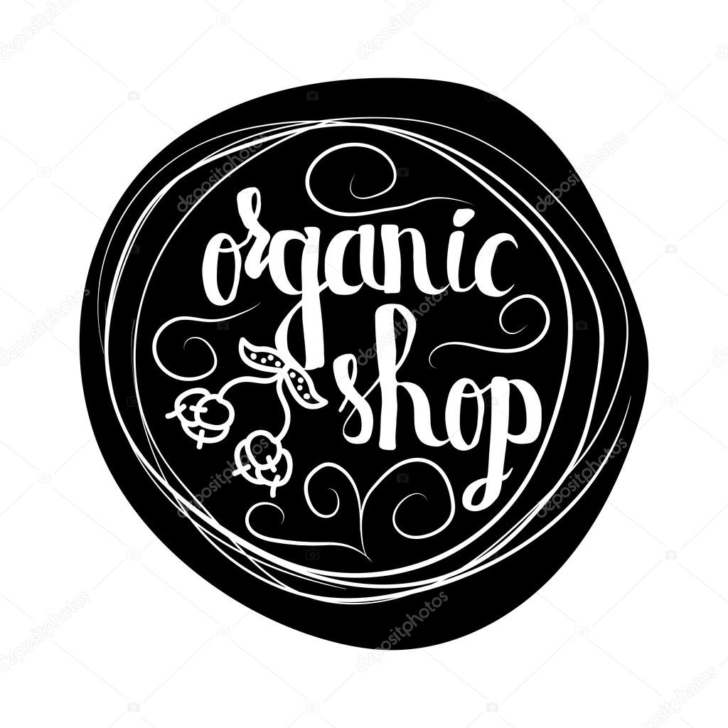 Creative typographic poster  for the online shops  to sell 100 percent organic products and food. Vector