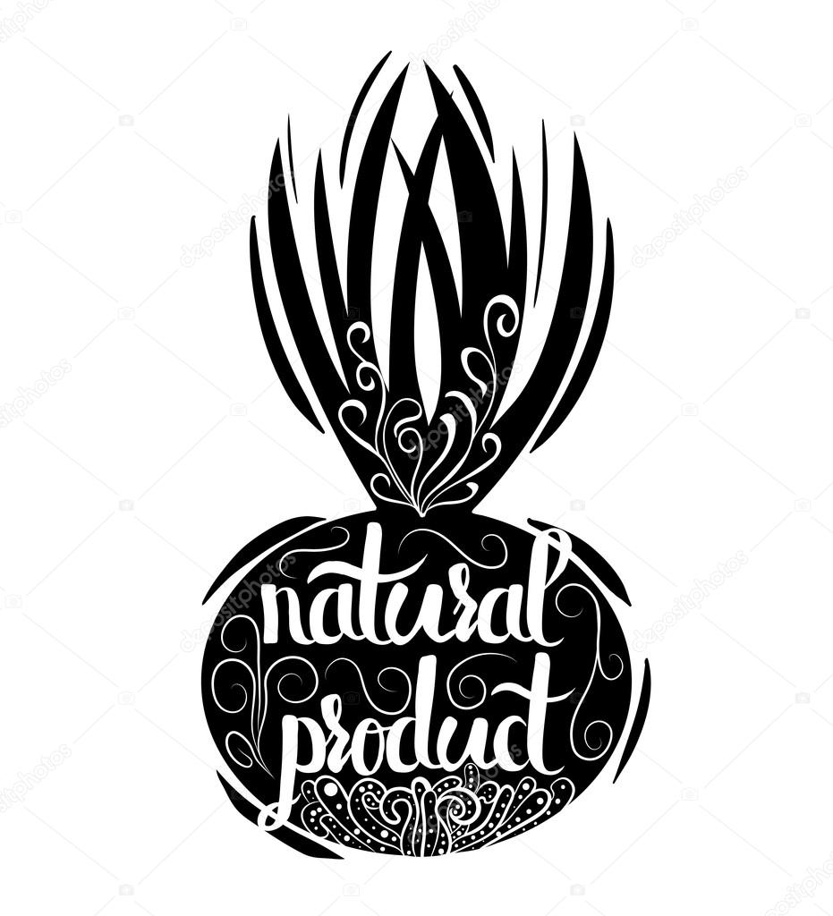 Creative typographic poster or a stamp on the black silhouette of a bow isolated on a white background for the online shops and supermarkets to sell  natural products. Vector