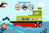 Fotografie Cartoon Vektor-Illustration der Bildung wird die logische Reihe von bunten Tiere auf einem Boot in den Ozean unter Meerestieren fortsetzen. Matching-Spiel für Vorschulkinder. Vektor