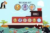 Fotografie Cartoon Vektor-Illustration der Bildung wird die logische Reihe von bunten Tiere auf einem Boot in den Ozean unter Inseln von Savannah fortzusetzen. Matching-Spiel für Vorschulkinder. Vektor