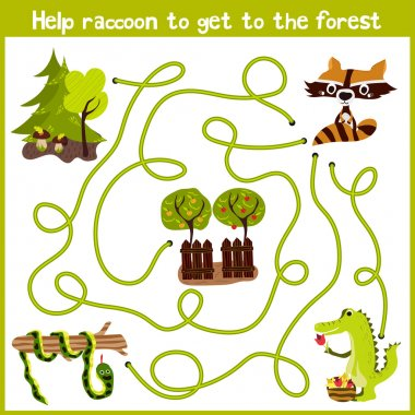 Cartoon of Education will continue the logical way home of colourful animals. Help little raccoon to get home in the wild forest. Matching Game for Preschool Children. Vector