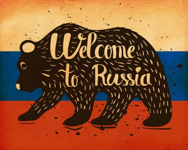 Vintage handlettering poster on the topic of tourism. The silhouette of a wild bear with text on the background of the national flag of the country of Russia. Vector