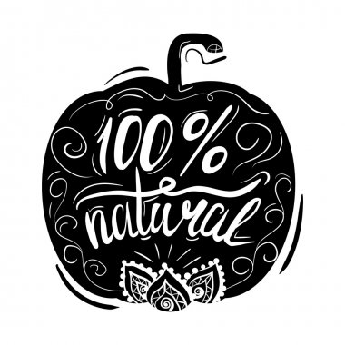 Creative typographic poster or a stamp on the black silhouette of a pumpkin with ornaments isolated on white background for online stores and supermarkets selling natural products. Vector