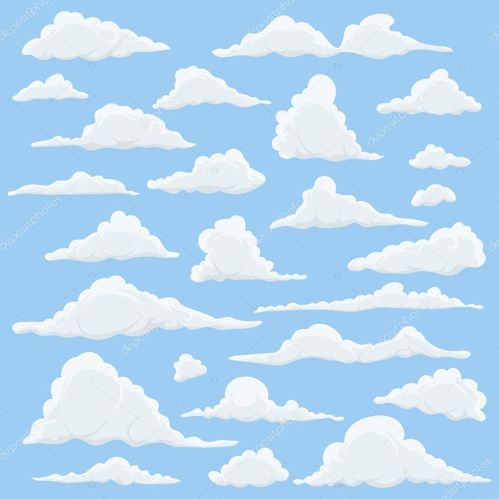 Cartoon Clouds Set On Blue Sky Background. Set of funny cartoon clouds, smoke patterns and fog icons, for filling your sky scenes or ui games backgrounds