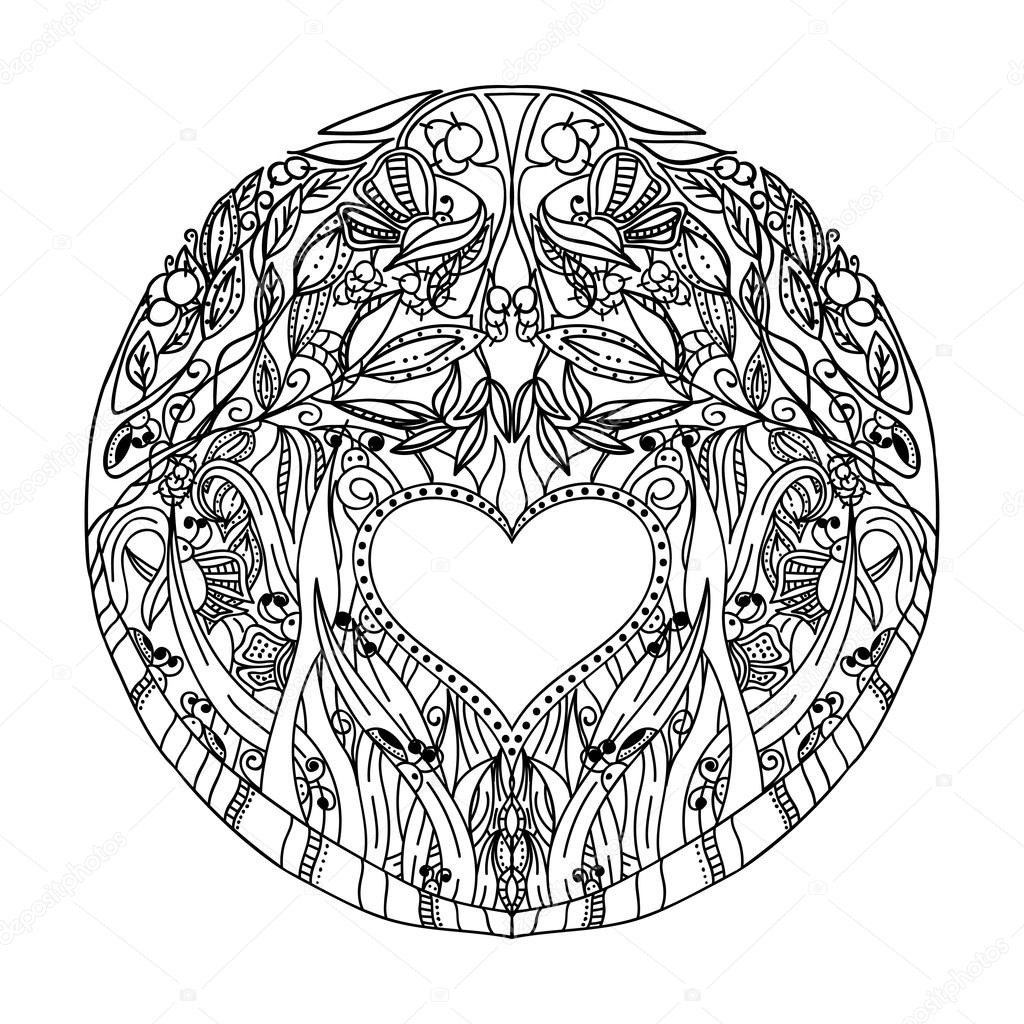 Decorative hand pattern with the image of forest nature for book coloring pages for adults. Antistress. Vector