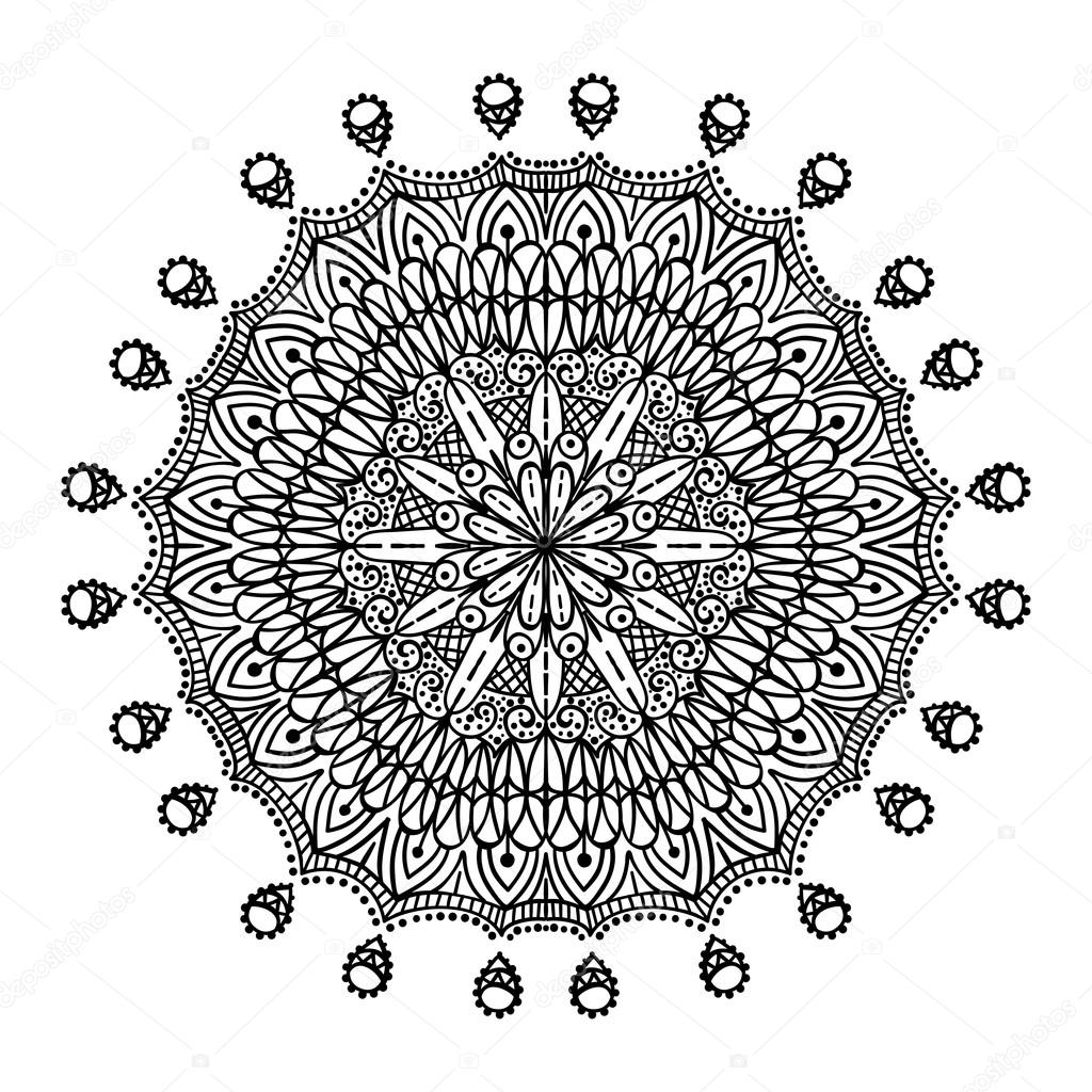 Ethnic decorative hand drawn elements isolated on white background. Islam, Arabic, Indian, Ottoman motifs. Mandala. Vector