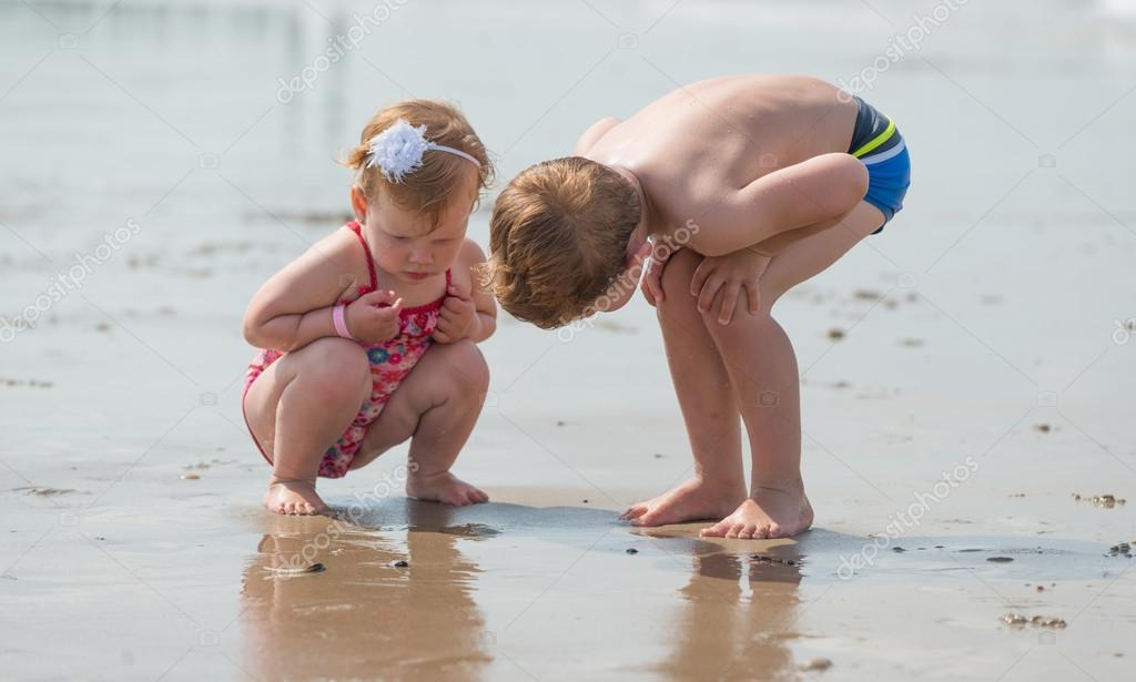 Brother and sister teen nudists