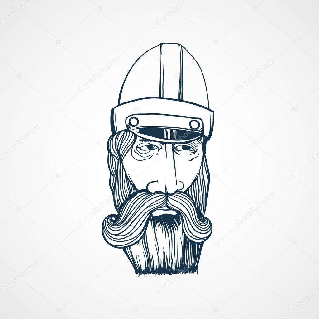Motociclista di cartone animato con barba u vettoriali stock