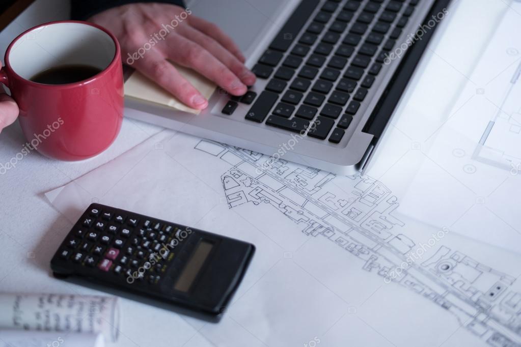Рабочее место архитектора rolls и планы — стоковое фото © vtmila.