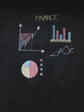 Financial graphs analysis on chalkboard